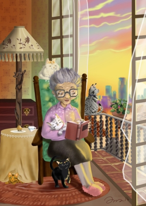 abuelita con gatos leyendo