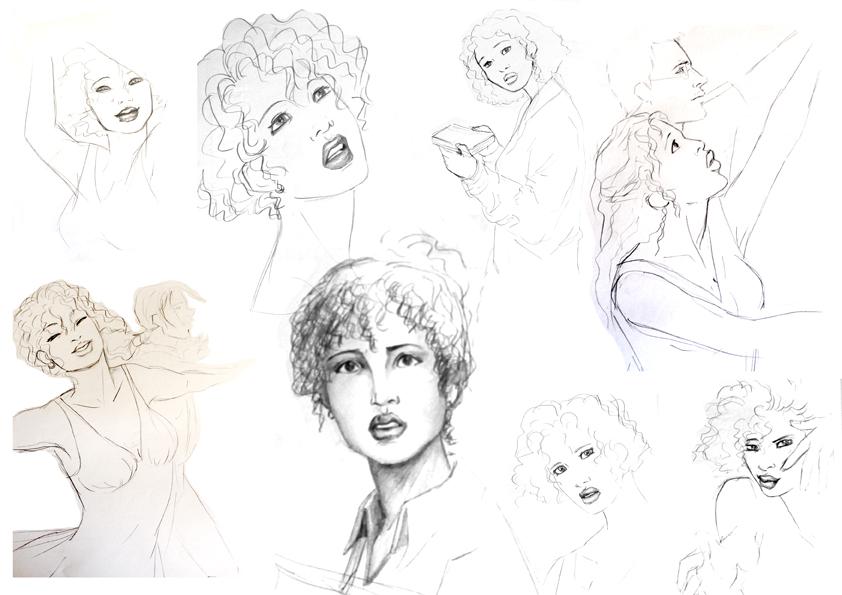Bocetos personaje femenino by Gauziana